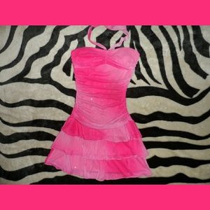Hot Pink Sparkly Strapless Mini Dress